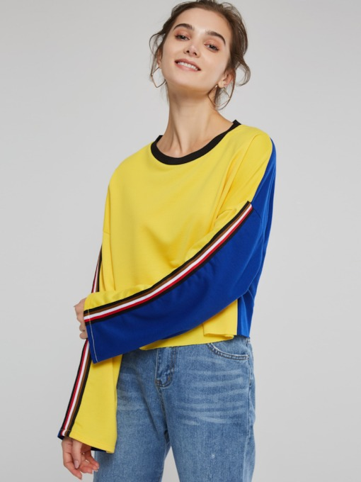 Color Block Scoop Neck Long Sleeve Women's Sweatshirt
