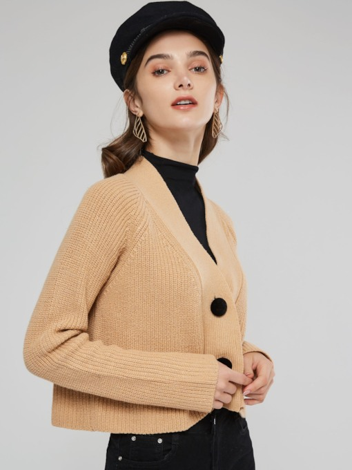 Button Down V-Neck Short Women's Sweater Coat