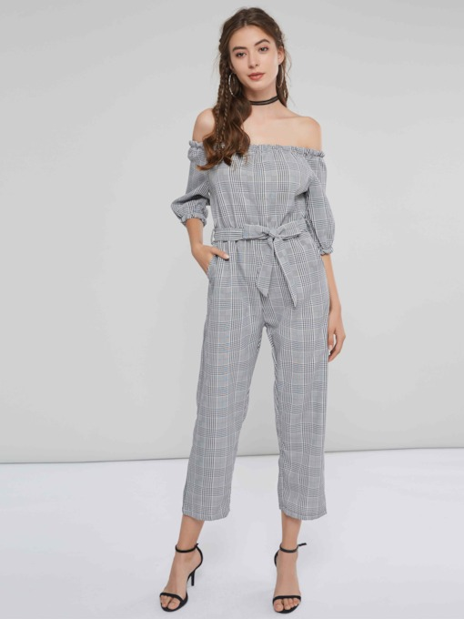 Plaid Off Shoulder Tie Waist Women's Jumpsuit
