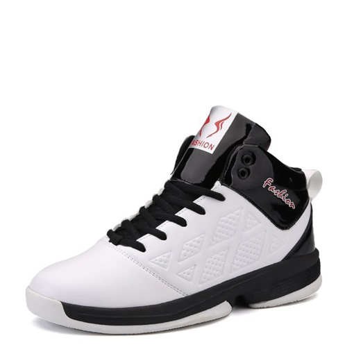 Round Toe Lace-Up High Top Mesh Lining Professional Basketball Shoes