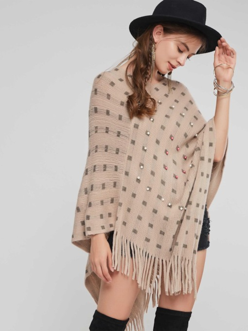 Plain Tassel Beads Plaid Thin Women's Cape