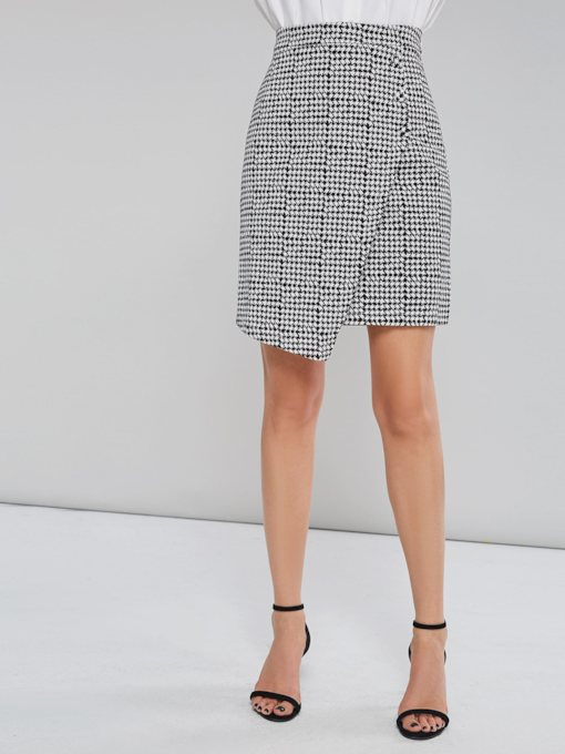 Asymmetric Houndstooth High Waist Women's Mini Skirt