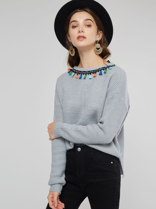 Tassel Pullover Scoop Neck Women's Sweater