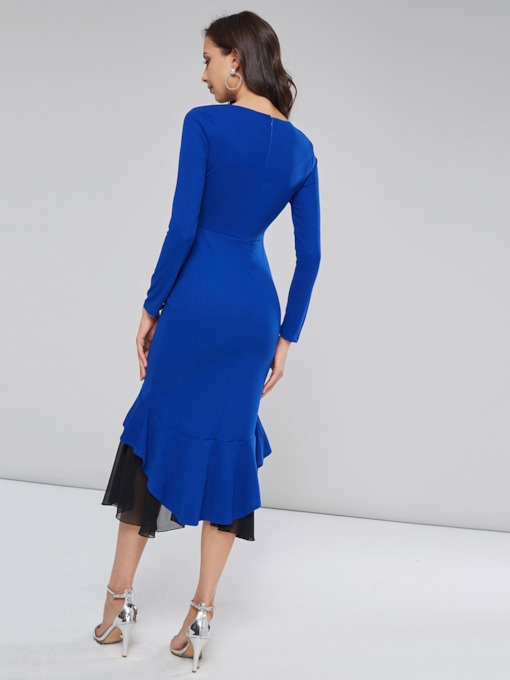V-Neck Pleated Patchwork Women's Long Sleeve Dress