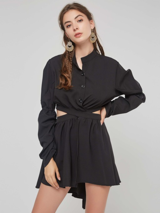 Hollow Heap Sleeve Women's Long Sleeve Dress