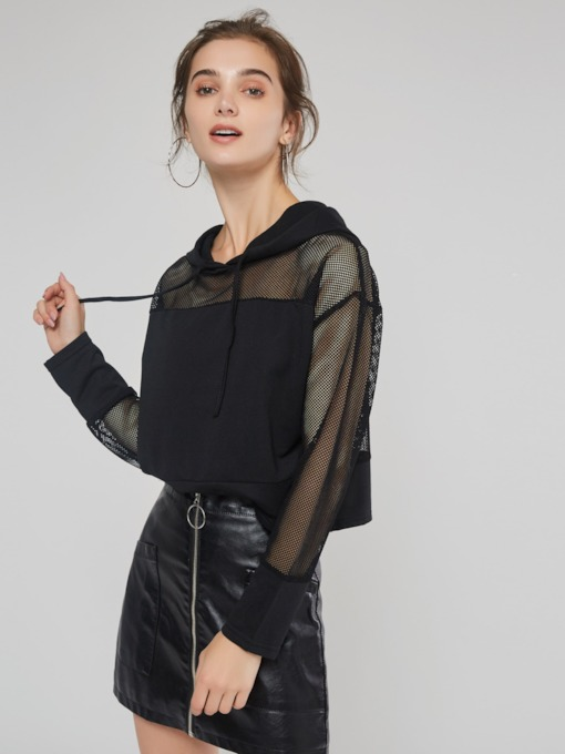 Sexy Sheer Stylish Hooded Pullover Women's Hoodie
