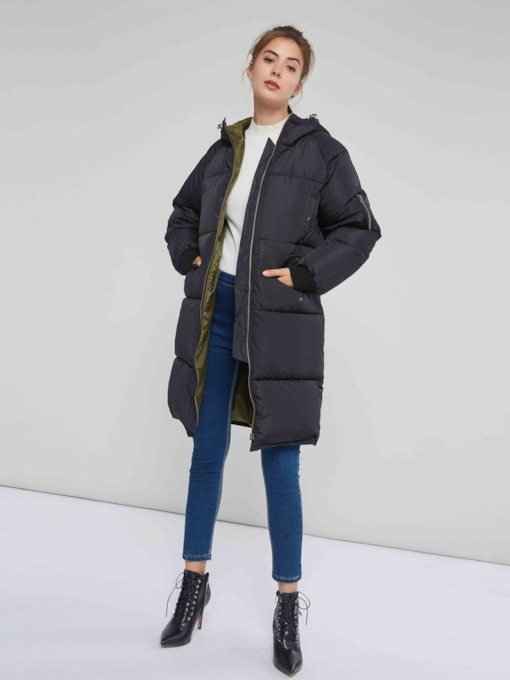 Hooded Zipper Up Mid Length Thick Women's Overcoat