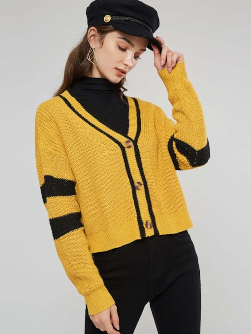 Color Block Single-Breasted Women's Sweater Coat