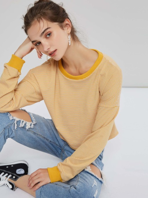 Plain Round Neck Stripe Long Sleeve Women's Sweatshirt