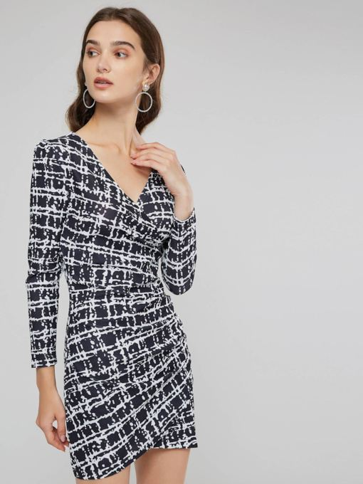V-Neck Houndstooth Women's Long Sleeve Dress