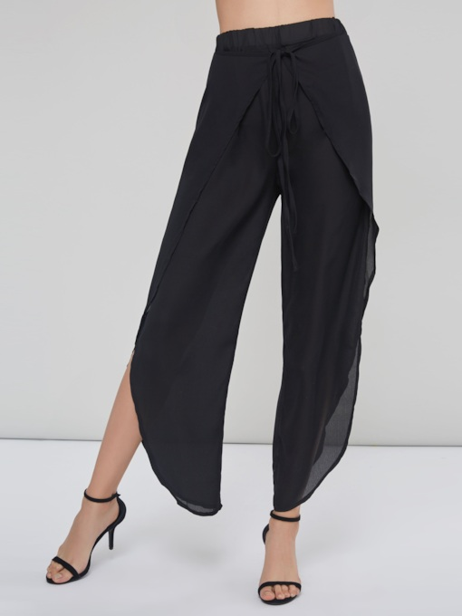 Chiffon Tie Front Asymmetric Split Women's Casual Pants