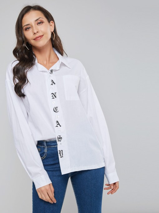 Letter Print Single-Breasted Women's Shirt