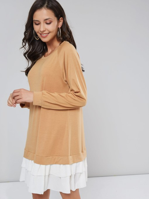 Pullover Patchwork Women's Long Sleeve Dress