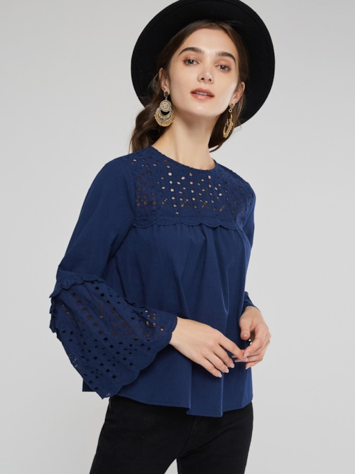 Flare Sleeve Scoop Neck Hollow Out Women's Blouse