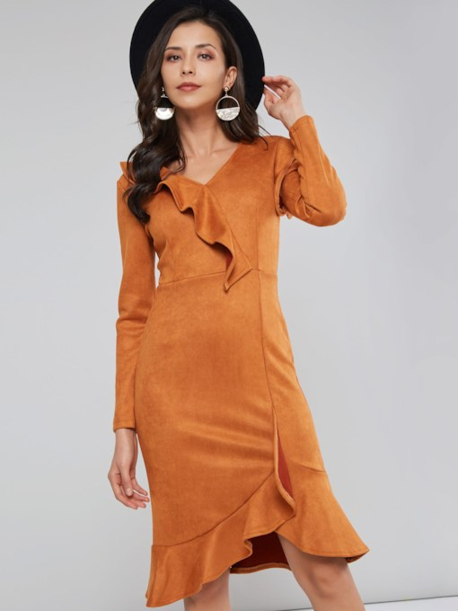 Falbala Asymmetric Women's Long Sleeve Dress