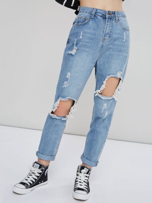 High Waist Hole Straight Women's Mom Jeans