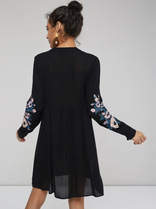 Embroidery Floral V-Neck Women's Long Sleeve Dress