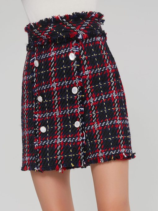 Plaid Button Tassel Patchwork Women's Mini Skirt
