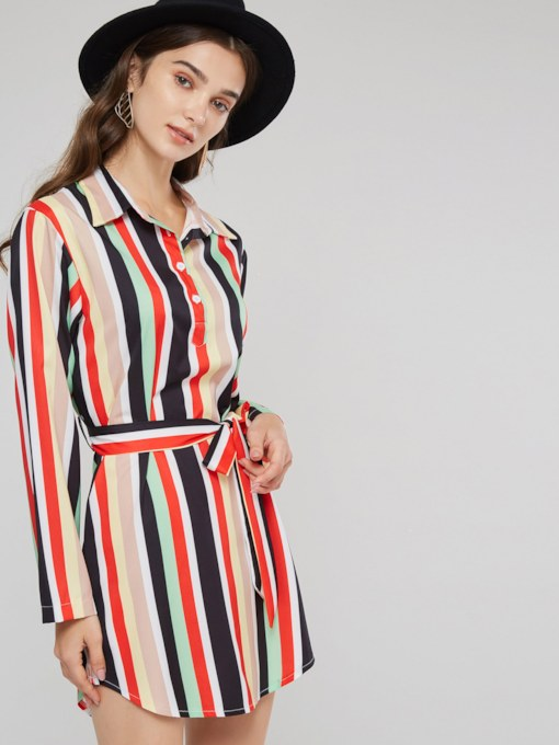 Stripe Lace Up Prints Women's Long Sleeve Dress