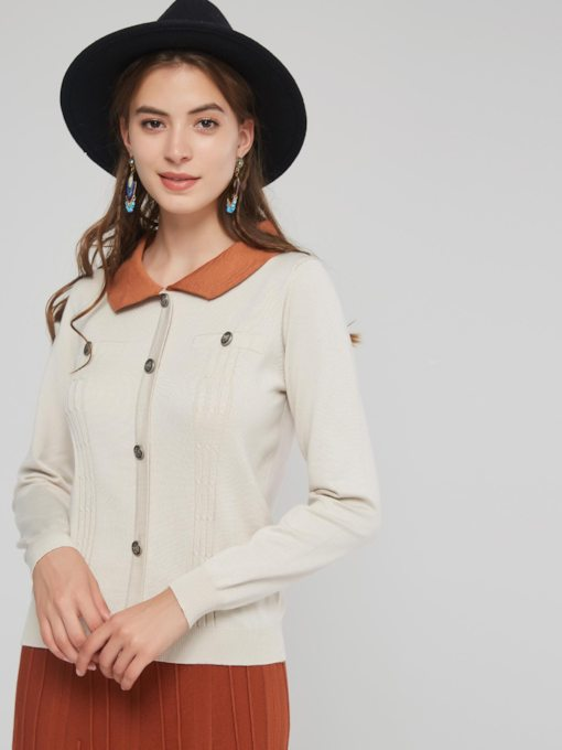 Peter Pan Collar Single-Breasted Women's Sweater