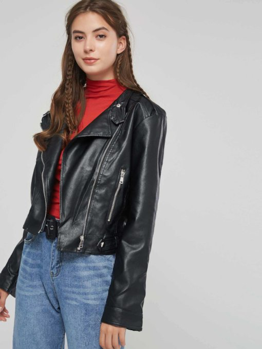 Plain Side Zipper Cropped Women's PU Jacket