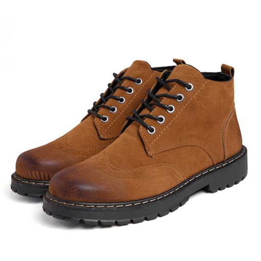 Round Toe Sewing Lace-Up Front Brush Off Ankle Martin Boots