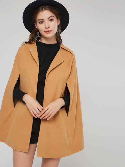 Notched Lapel Hidden Buttton Women's Cape Coat