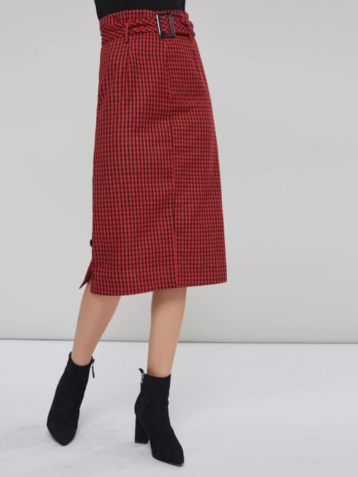 Plaid Color Block Belted Women's Skirt