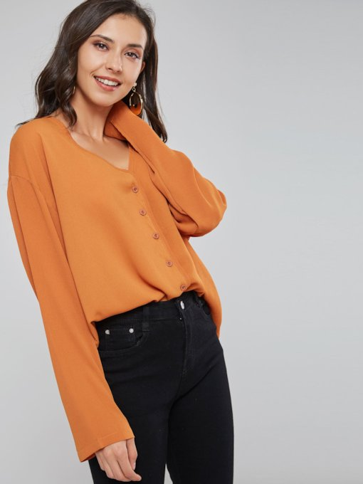 Deep V-Neck Single-Breasted Women's Shirt