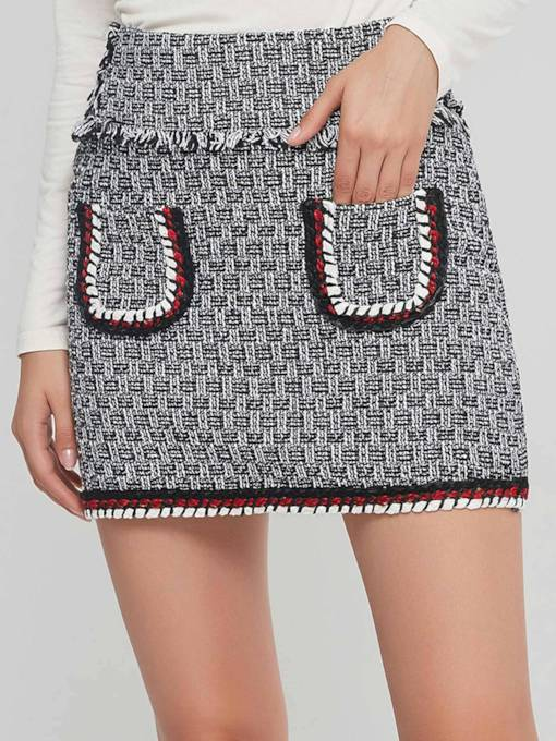 Patchwork Tassel Pocket Bodycon Women's Mini Skirt