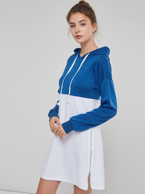 Plain Contrast Color Mid Length Women's Hoodie