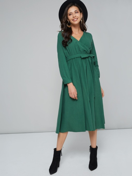V-Neck Lace up Women's Long Sleeve Dress