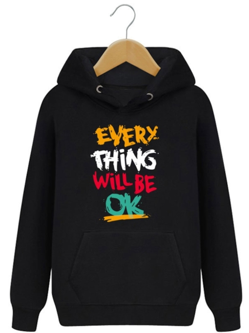 Everything Will Be Ok Printed Slim Men's Hoodie