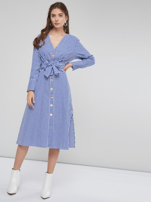 V-Neck Belt Stripe Casual Women's Long Sleeve Dress