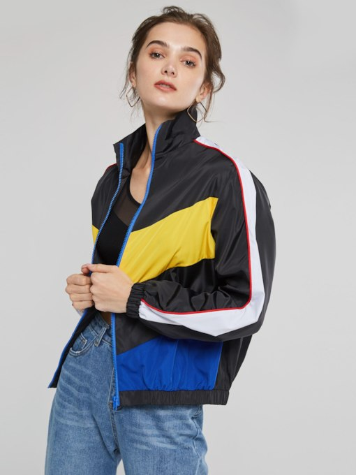 Color Block Sports Style Women's Casual Jacket
