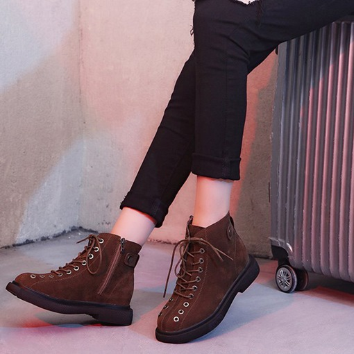 Round Toe Cross Strap Platform Side Zipper Women's Martin Boots