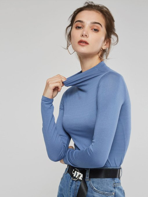 Plain High Neck Long Sleeve Slim Women's T-Shirt