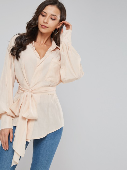Lace Up Lantern Sleeve Pocket Women's Shirt