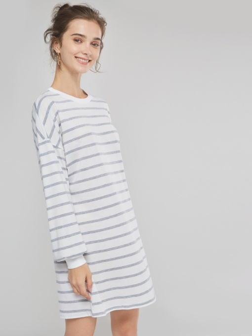 Stripe Casual Straight Women's Long Sleeve Dress