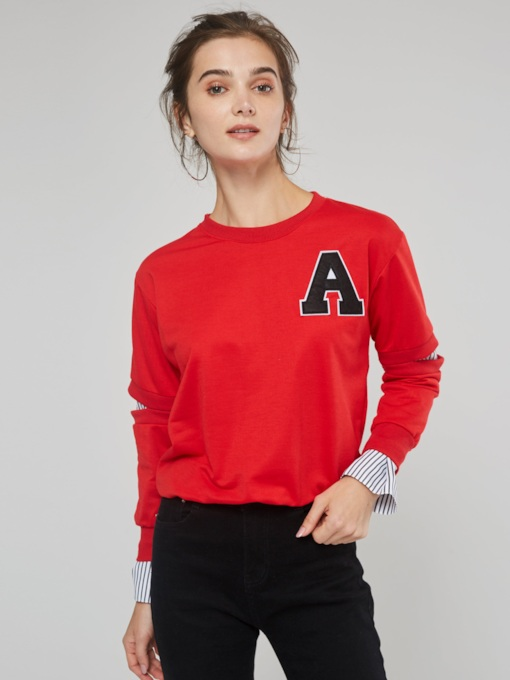 Plain Basic Letter Print Women's Sweatshirt