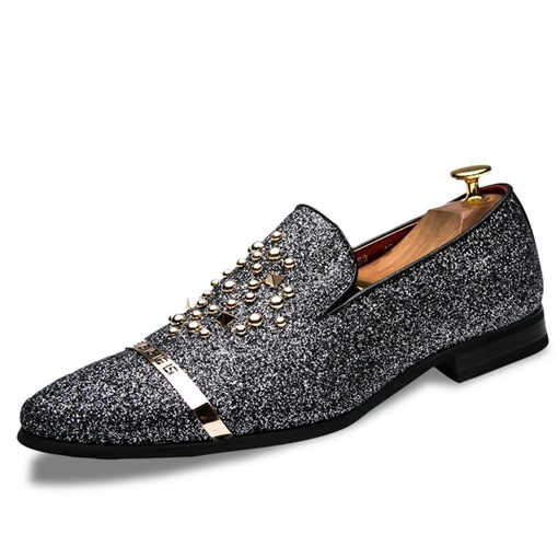 Pointed Toe Rivet Sequin Slip-On Glitter Men's Prom Shoes