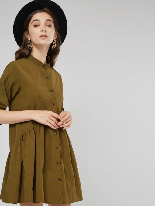 Single-Breasted Half Sleeve Plain Women's Day Dress