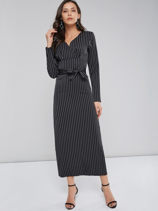 Long Sleeve Belt Lace Up Women's Maxi Dress