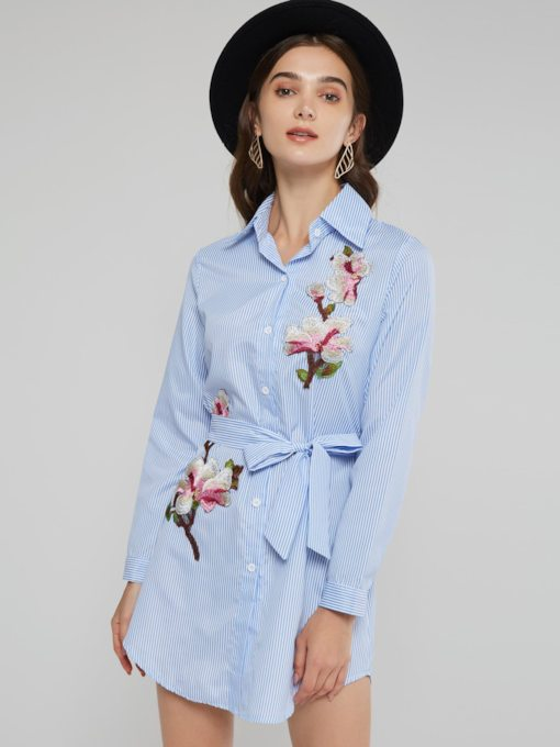 Lapel Floral Single-Breasted Women's Long Sleeve Dress