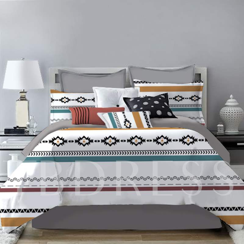Simple Stripe and Geometric Style Printing 4-Piece Polyester Bedding Sets/Duvet Cover