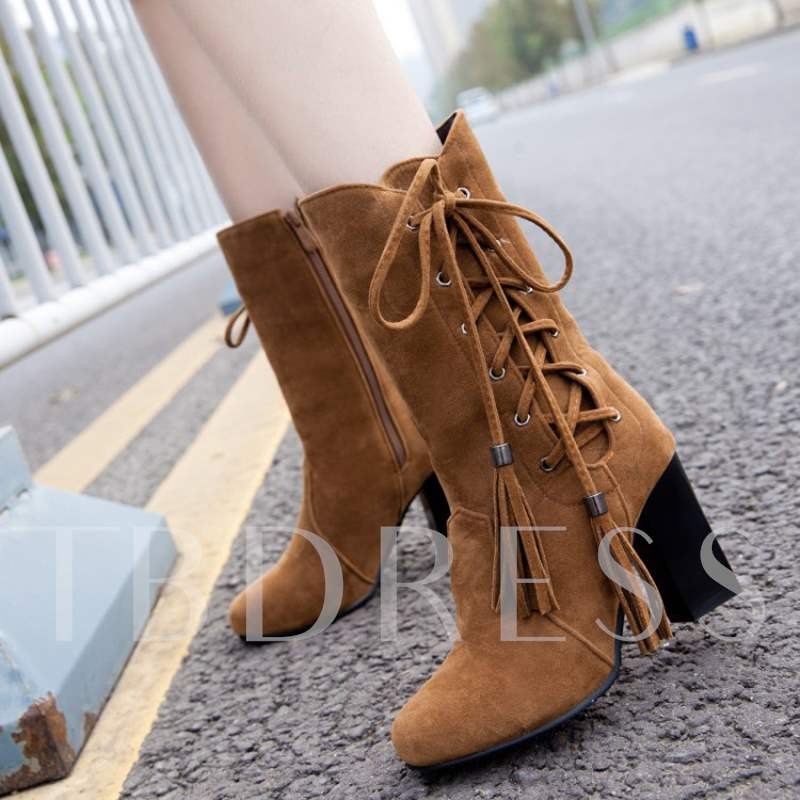 198dc6b1981b Suede Side Zipper Chunky Heel Cross Strap Fringe Chic Mid Calf Boots. Sold  Out