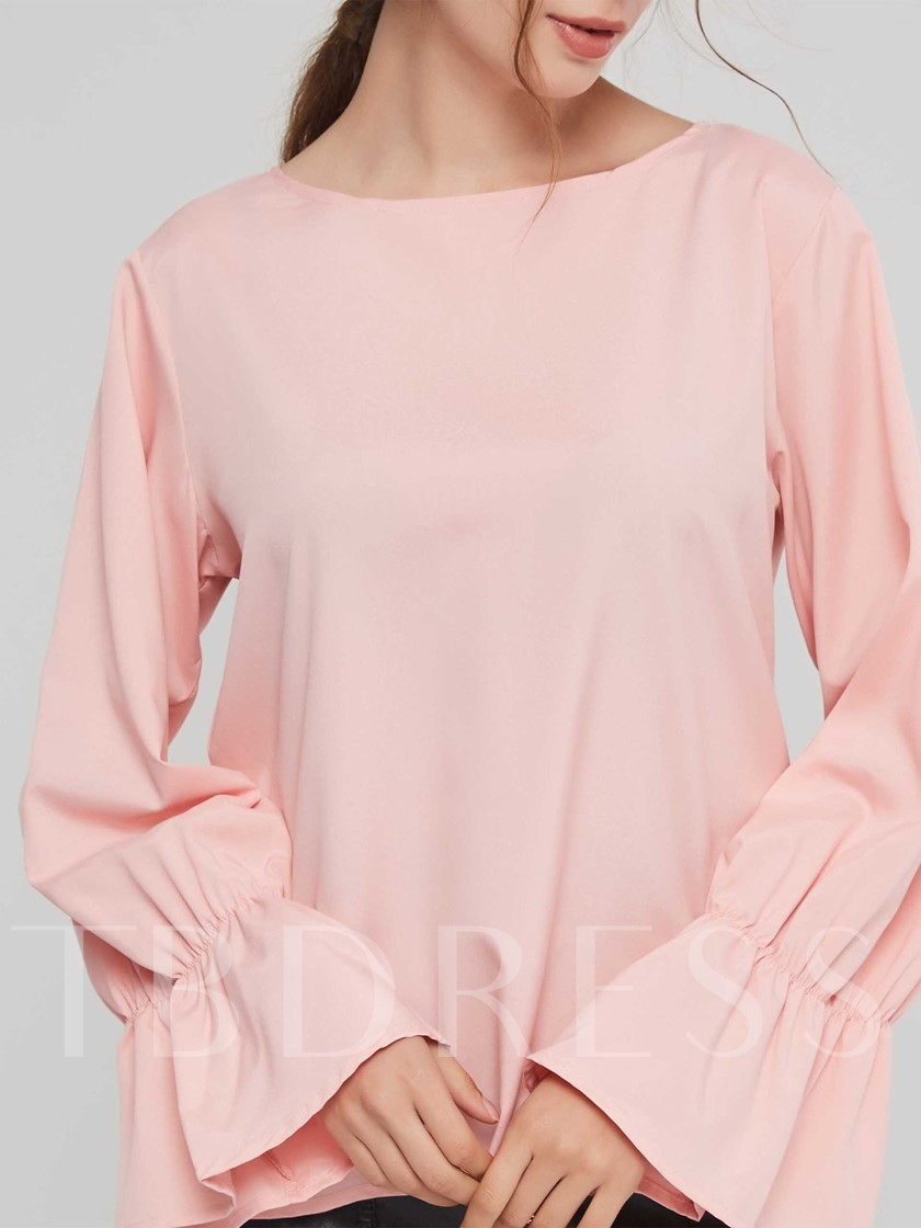 Round Neck Solid Color Flare Sleeve Women's Blouse