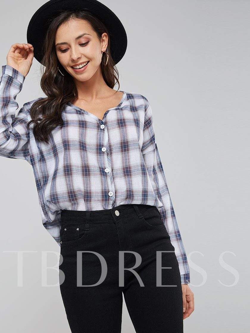 V-Neck Plaid Print Single-Breasted Women's Shirt
