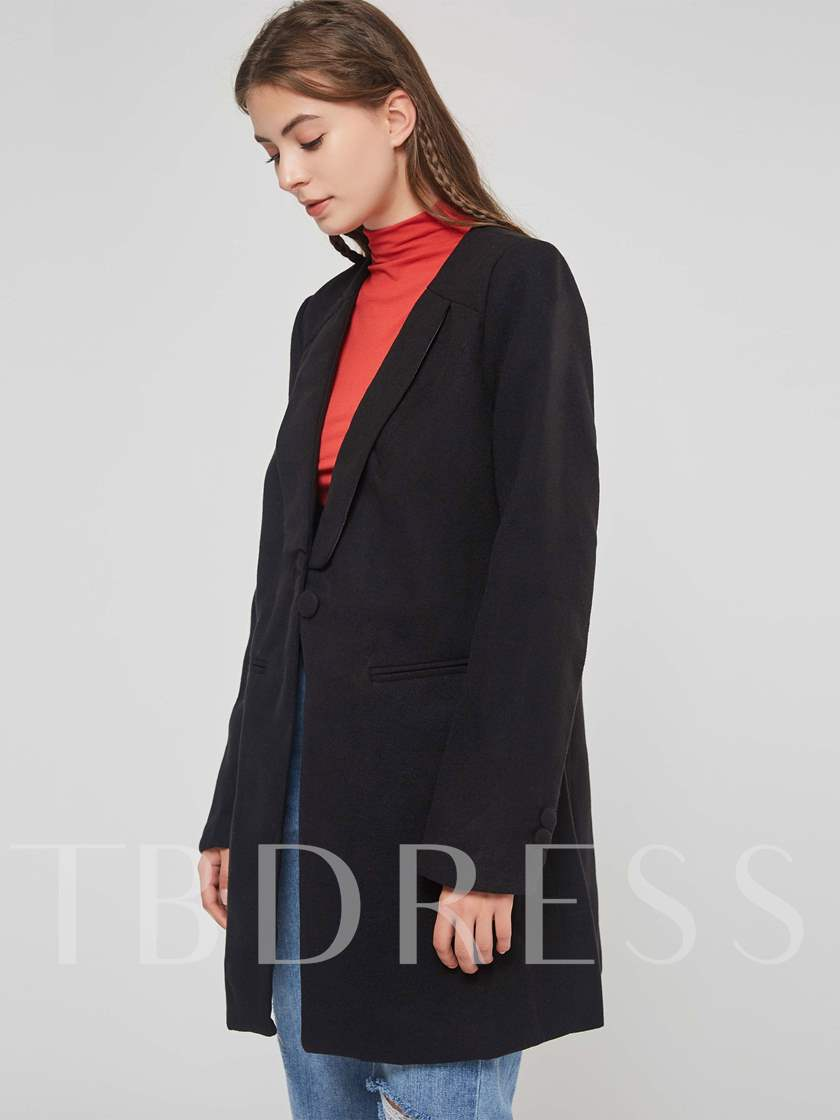 Slim Fit Mid Length One Button Women's Overcoat