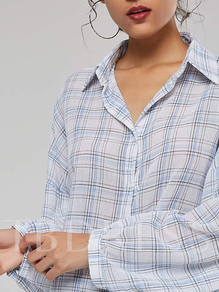 Plaid Single-Breasted Long Sleeve Women's Shirt